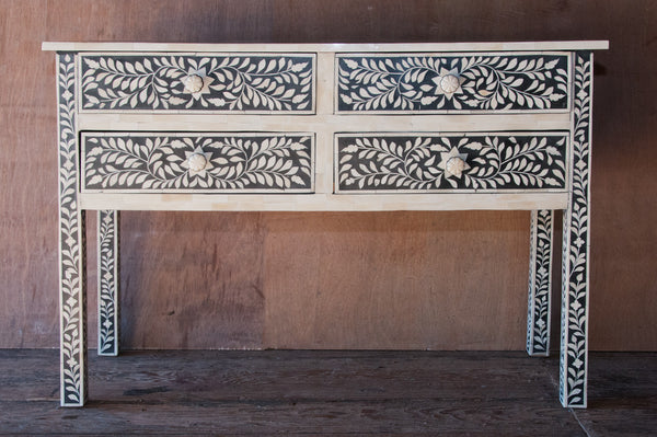 4 Drawer Black and White Bone Inlay Console - Accent Consoles - Shop Nectar - 1