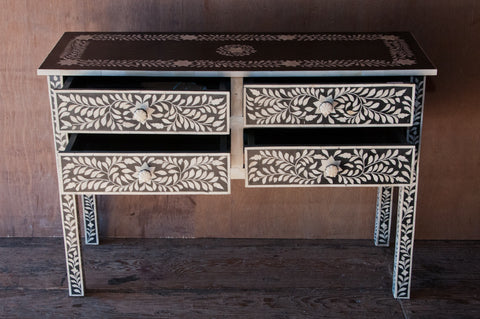 4 Drawer Black and White Bone Inlay Console - Accent Consoles - Shop Nectar - 2