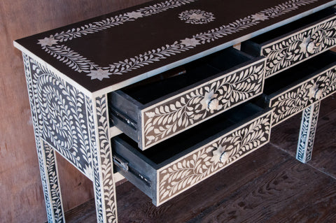 4 Drawer Black and White Bone Inlay Console - accent-consoles, assorted-styles, Black and White, bohemian-chic, Bohochic, console table, credenzas, drawer, drawers, Dressers & Storage, dressers-and-storage, eco, entryway, Floral, furniture, graphic, Hand Crafted, handmade, India, Inlay, Lotus, new-nectar-exclusives, one-of-a-kind, sideboards-consoles-hutches, sofa table, sofa tables