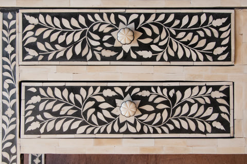 4 Drawer Black and White Bone Inlay Console - Accent Consoles - Shop Nectar - 5