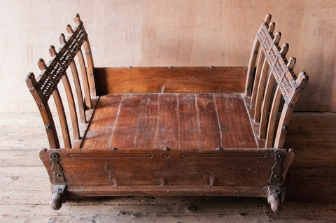 Antique Teak Wood Indian Rolling Cart - Coffee Tables - Shop Nectar - 1