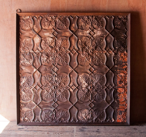 Square Iron Ceiling Tile Wall Hanging or Headboard - antique, architectural, bed, bedroom, beds-and-headboards, board, Boho Chic, decorative panel, detail, details, Eco, free shipping, furniture, hanging, head, headboard, India, iron, one-of-a-kind, panel, Reclaimed, shabby-chic, tile, vintage, wall