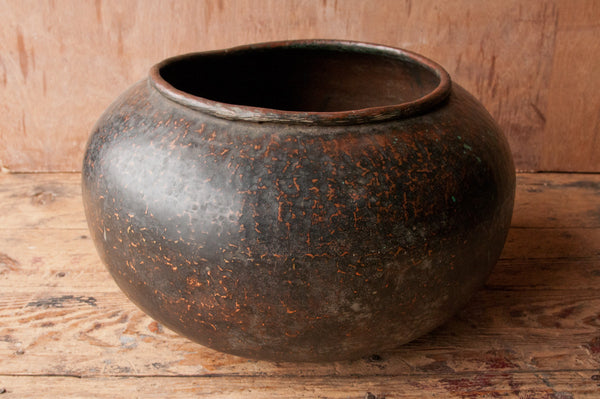 Large Antique Patinated Copper Pot - antique, bowl, copper, eco, garden-outdoor, hammered, handmade, India, one-of-a-kind, patina, pot, pots, pots-planters-stands-terrariums, rustic