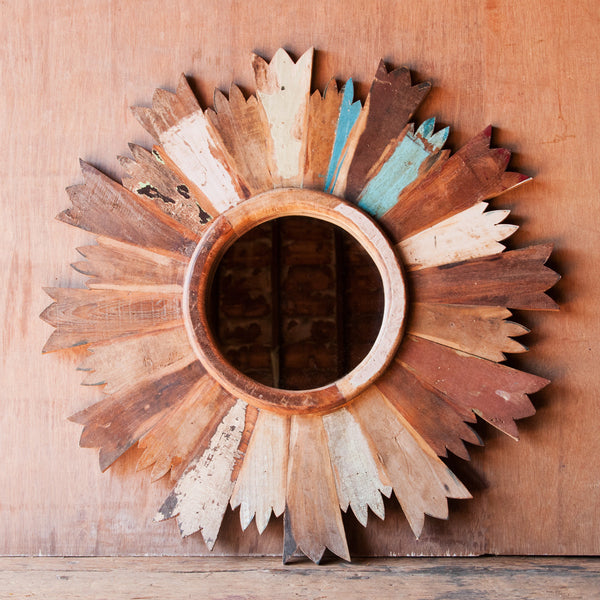 Rustic Reclaimed Wood Sun Mirror - Wall Mirrors - Shop Nectar - 1