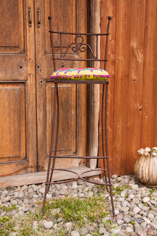 Moroccan Wrought Iron Barstools - bohemian-chic, Boho Chic, eco, free shipping, furniture, iron, metal, Morocco, new-nectar-exclusives, one-of-a-kind, seating, Stool, stools, tables-seating