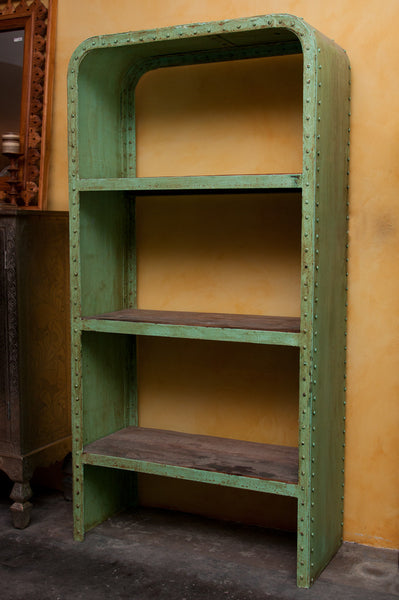 Green Industrial Steel and Teak Wood Bookshelf - book, book case, book shelf, book shelves, bookcase, bookcases, case, eco, furniture, India, Indian, industrial, industrial chic, metal, new-nectar-exclusives, one-of-a-kind, open-shelving, Reclaimed, retro, shelf, shelving, vintage