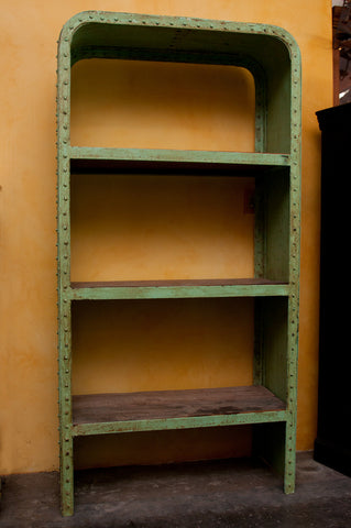 Green Industrial Steel and Teak Wood Bookshelf - Open Shelving - Shop Nectar - 2