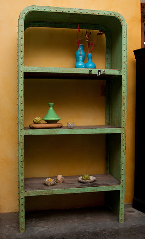 Green Industrial Steel and Teak Wood Bookshelf - Open Shelving - Shop Nectar - 3