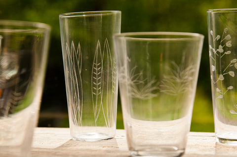 Roost Etched Botanical Glasses - Glass Collections - Shop Nectar - 6