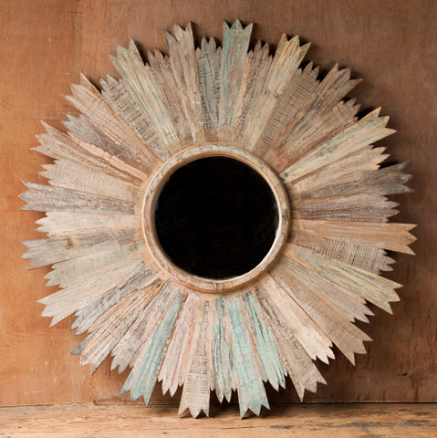 Rustic Reclaimed Wood Sun Mirror - accent-details, assorted-styles, decor, Eco, handmade, new-nectar-exclusives, one-of-a-kind, patchwork, reclaimed, reclaimed-wood, wall-mirrors, whitewash, wood