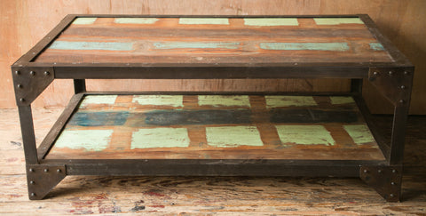 Industrial Patchwork Coffee Table - bohemian-chic, Boho Chic, coffee-end-tables, coffee-tables, eco, free shipping, furniture, India, industrial, metal, new-nectar-exclusives, one-of-a-kind, Patchwork, reclaimed-wood, wood