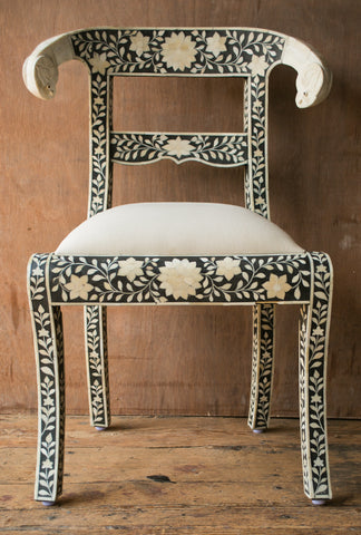 Ethically Sourced Rams Head Inlay Chairs - assorted-styles, Black and White, bohemian-chic, Boho Chic, bone inlay, cathedra, chair, eco, Floral, florals, furniture, Handcrafted, handmade, India, Inlay, lotus, Lotus Flower, new-arrivals-furniture, one-of-a-kind, Sacred Cows, seating
