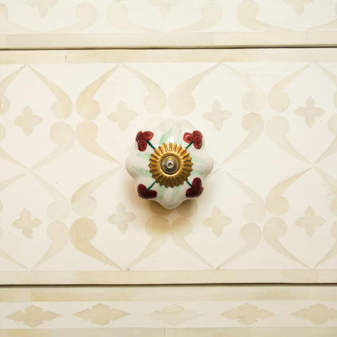 Hand-Painted Ornamental Ceramic Drawer Knob - Red Berry - antique, antique brass, berry, brass, cabinet, ceramic, decor, decorative, drawer pull, eco, floral, flower, Hand Painted, handle, handmade, hardware, knobs, leaf, one-of-a-kind, red