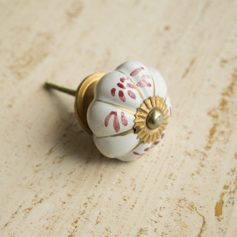 Hand-Painted Ornamental Ceramic Drawer Knob - Leaf Red - antique, antique brass, assorted-styles, brass, cabinet, ceramic, decor, decorative, drawer pull, eco, floral, flower, Hand Painted, handle, handmade, hardware, knobs, leaf, one-of-a-kind, red
