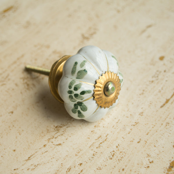 Hand-Painted Ornamental Ceramic Drawer Knob - Leaf Green - antique, antique brass, assorted-styles, brass, cabinet, ceramic, decor, decorative, drawer pull, eco, floral, flower, green, Hand Painted, handle, handmade, hardware, knobs, leaf, one-of-a-kind