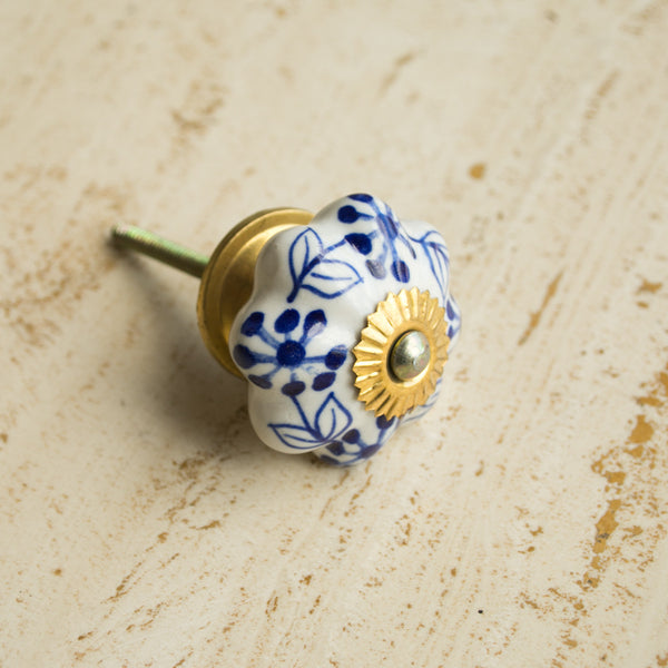 Hand-Painted Ornamental Ceramic Drawer Knob - Blue Blossom - Knobs - Shop Nectar - 1