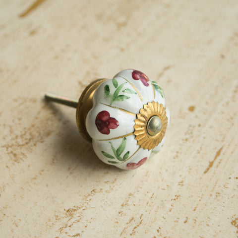 Hand-Painted Ornamental Ceramic Drawer Knob - Red Flower - antique, antique brass, brass, cabinet, ceramic, decor, decorative, drawer pull, eco, floral, flower, Hand Painted, handle, handmade, hardware, knobs, leaf, one-of-a-kind, red