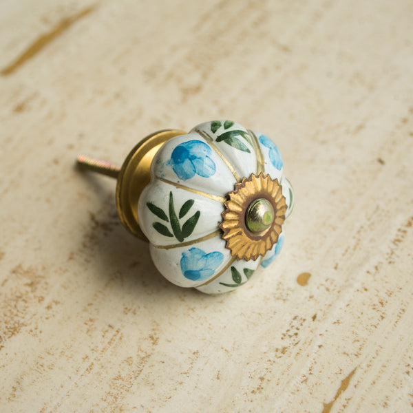 Hand-Painted Ornamental Ceramic Drawer Knob - Blue Flower - Knobs - Shop Nectar - 1