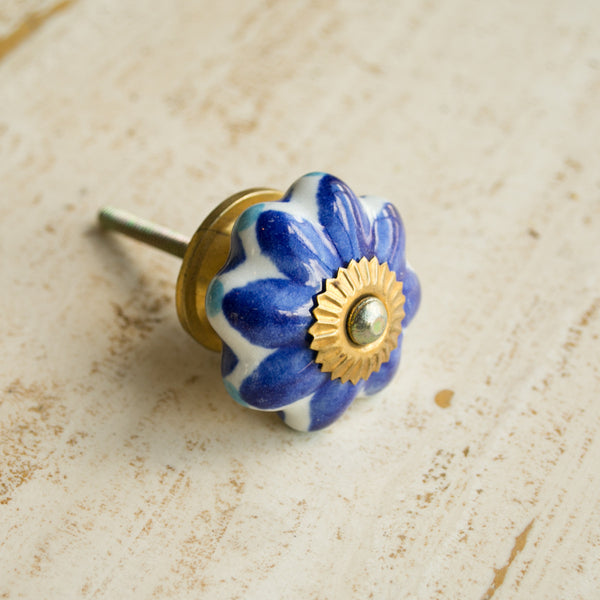 Hand-Painted Ornamental Ceramic Drawer Knob - Blue Petal - antique, antique brass, blue, brass, cabinet, ceramic, decor, decorative, drawer pull, eco, floral, flower, Hand Painted, handle, handmade, hardware, knobs, one-of-a-kind, petal