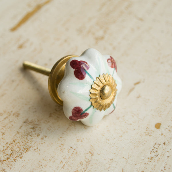 Hand-Painted Ornamental Ceramic Drawer Knob - Red Berry - Knobs - Shop Nectar - 1