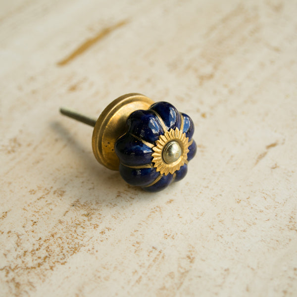 Hand-Painted Ornamental Ceramic Drawer Knob - Solid Blue - antique, antique brass, blue, brass, cabinet, ceramic, decor, decorative, drawer pull, eco, floral, flower, Hand Painted, handle, handmade, hardware, knobs, one-of-a-kind