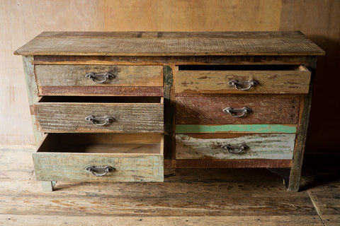 6 Drawer Patchwork Reclaimed Dresser - day, dressers, dressers-armoires-storage, eco, free shipping, furniture, gift, gifts, handmade, India, mothers, new-arrivals-in-furniture, new-nectar-exclusives, one-of-a-kind, patchwork, reclaimed-wood, wood