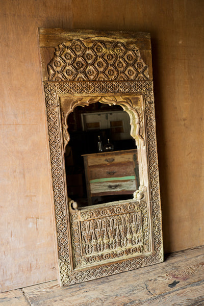 Ornately Carved Reclaimed Wood Mirror - Wall Mirrors - Shop Nectar - 1