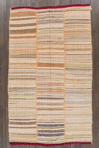 Hand Knit Kilim Stripes Ivory Rug from Turkey - accent-details, apadana, decor, hand knit, Hand Loomed, Hand Woven, handmade, kilim, one-of-a-kind, rug, rugs, rugs-runners, textile, turkey, turkish, wool
