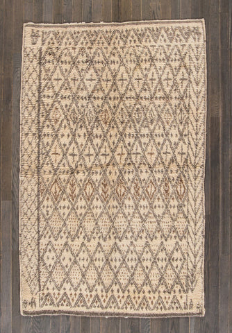 Vintage Beni Ourain Intricate Diamonds on Ivory Moroccan Rug - accent-details, apadana, decor, hand knit, Hand Loomed, Hand Woven, handmade, Moroccan, Moroccan decor, Moroccan rug, Moroccan rugs, Morocco, one-of-a-kind, rug, rugs, rugs-runners, textile, vintage, wool