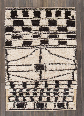Ivory and Chocolate Hand Woven Vintage Moroccan Rug - accent-details, apadana, Beni Ourain, Boho Chic, boho style, decor, hand knit, Hand Loomed, Hand Woven, handmade, Moroccan, Moroccan decor, Moroccan rug, Moroccan rugs, Morocco, one-of-a-kind, rug, rugs, rugs-runners, textile, vintage, wool