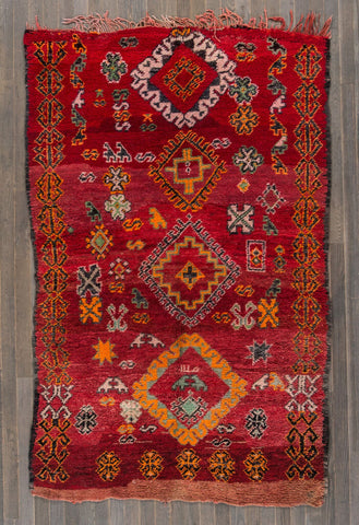 Red Moroccan Tribal Rug - accent-details, apadana, decor, Hamadan rug, Hamadan rugs, hand knit, Hand Loomed, Hand Woven, handmade, Moroccan, Moroccan rug, Moroccan rugs, Morroco, one-of-a-kind, rug, rugs, rugs-runners, textile, wool