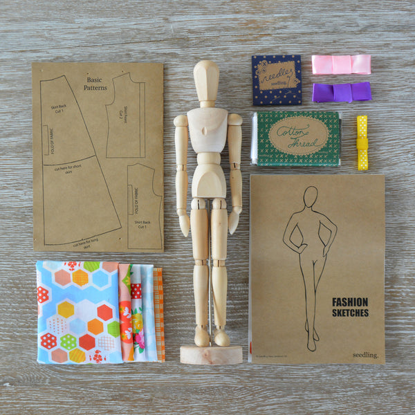 The Fashion Designer's Kit - activity-kits, child, children, color, craft, crafting, create, cut outs, design, designer, designing, eco-friendly, fabric, fashion, fun, game, kid, kids, kit, kits, learn, learning, manikin, Manikins, Mannequin, ribbon, ribbons, Seedling, The Fashion Designer's Activity Kit, toy, toys-games, wood, wooden