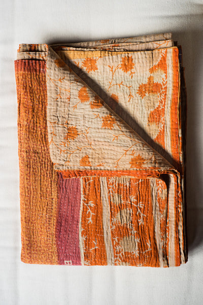 Hand-Stitched Kantha Gudri Throw Blanket 020 - bed, bedding-textiles, bedroom, day, decor, Eco, gift, gifts, gifts-for-the-occasion, mothers, one-of-a-kind, pillows-throws, quilts-coverlets-throws, throw, throw-blankets, throws, vintage