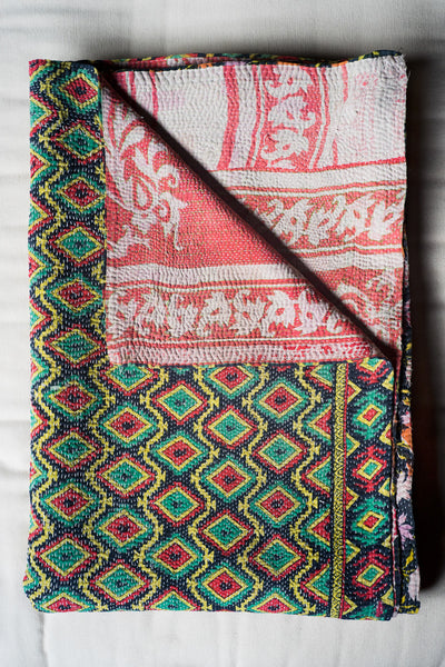Hand-Stitched Kantha Gudri Throw Blanket 015 - Throw Blankets - Shop Nectar - 1