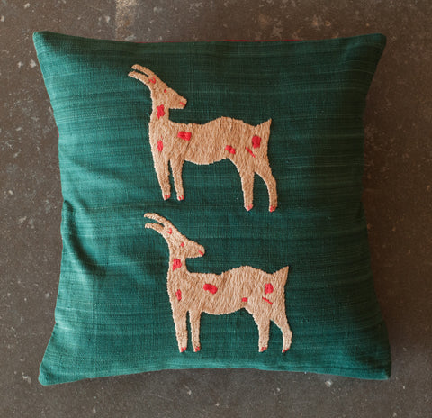 Yoyamay Green Deer Handmade Fair Trade Pillow Case - Decorative Pillows - Shop Nectar - 1