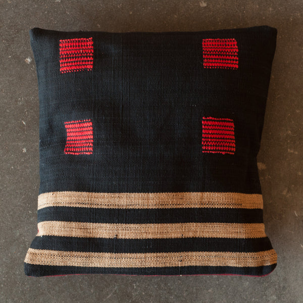 Yoyamay Black and Red Handmade Fair Trade Pillow - Decorative Pillows - Shop Nectar - 1