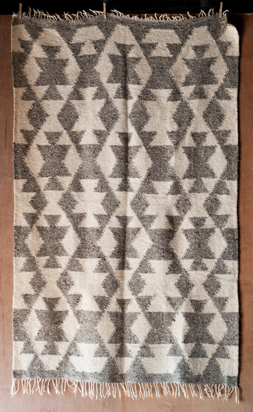 Grey and White Fringed Tribal Patterned Fair Trade Guatemalan Rug - Rugs & Runners - Shop Nectar - 1