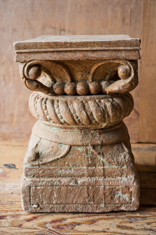 Ornately Carved Columns with Ribbing Details - antique, architectural detail, architectural-details, Architecture, column, Hand Carved, handmade, India, new-nectar-exclusives, one-of-a-kind, original, ornate, ornately carved, rustic, stone, wood