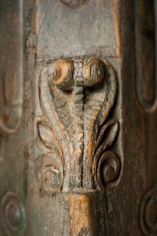 Ornately Carved Columns with Botanical Details - antique, architectural detail, architectural-details, Architecture, Botanical, column, floral, Hand Carved, handmade, India, new-nectar-exclusives, one-of-a-kind, original, ornate, ornately carved, rustic, stone, wood