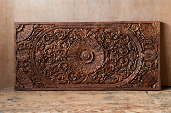 Ornately carved wooden indian panel shop nectar