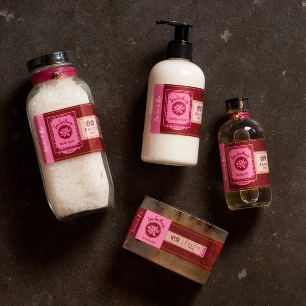 Lotus Love Beauty Pritti Jasmine & Rose Bath Collection - assorted-styles, bath-beauty, beauty-hair-care, gift-sets, gifts-for-her, gifts-for-the-bridesmaids, gifts-for-the-occasion, Jasmine, Lotus Love Beauty, organic, Rose, soaps-lotions-creams