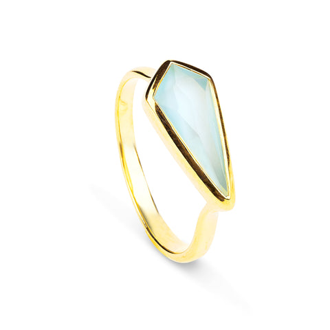Auren Aqua Chalcedony Kite Ring - 18ct gold vermeil, accessories, assorted-styles, Auren Aqua Chalcedony Kite Ring, bohemian-chic, Boho Chic, Chalcedony Kite Ring, Gift, gifts, gifts-for-her, gifts-for-the-bridesmaids, gold jewelry, gold plated, Gold Vermeil, handmade, jewelry, key rings, ring, rings, staff-picks-jewelry, stone jewelry