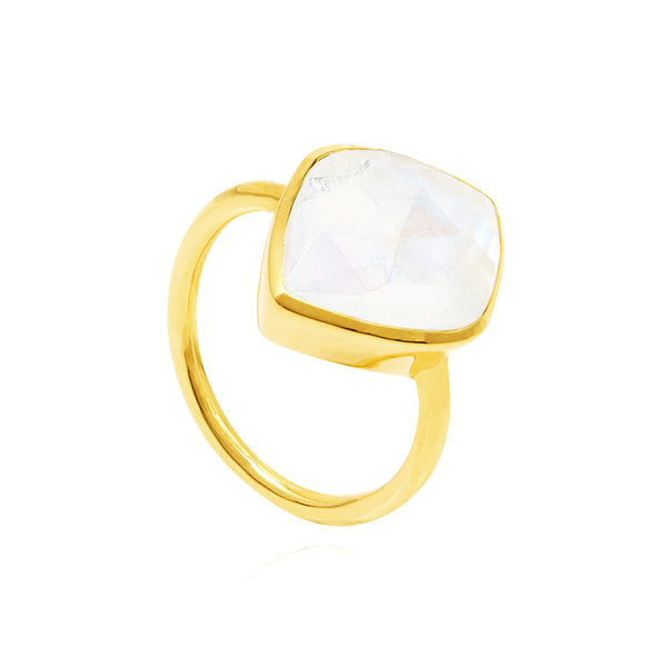 Auren Almond Moonstone Gold Ring - rings