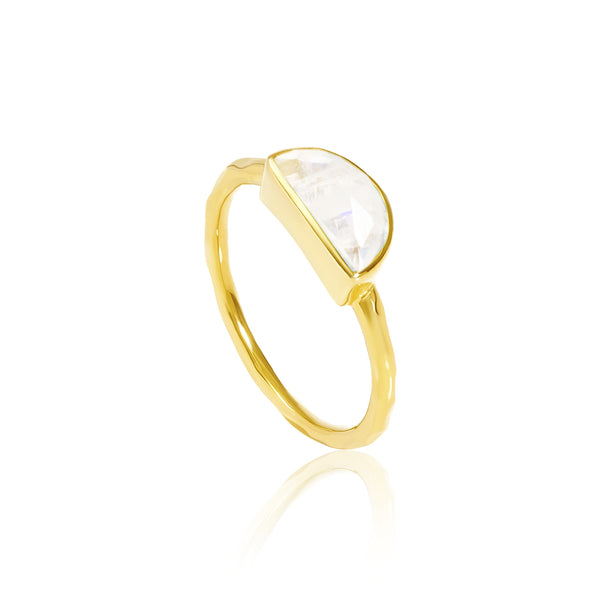 Auren Crescent Moonstone Stackable Gold Ring - 18ct gold vermeil, accessories, assorted-styles, bohemian-chic, Boho Chic, day, Gift, gifts, gifts-for-her, gifts-for-the-bridesmaids, gold, gold jewelry, gold plated, Gold Vermeil, handmade, jewelry, moonstone, moonstone ring, mothers, new-arrivals-in-gifts-indulgences, new-arrivals-in-jewelry, ring, rings, stackable rings, Stacking Ring, Stacking Rings, staff-picks-jewelry