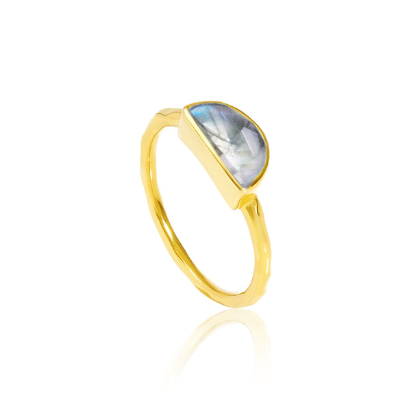 Auren Crescent Labradorite Stackable Ring - 18ct gold vermeil, accessories, antique jewelry, assorted-styles, Auren Aqua Chalcedony Kite Ring, bohemian-chic, Boho Chic, day, Eco, Gift, gifts, gifts-for-her, gifts-for-the-bridesmaids, gold, gold jewelry, gold plated, Gold Vermeil, handmade, jewelry, labradorite, mothers, new-arrivals-in-gifts-indulgences, new-arrivals-in-jewelry, ring, rings, stackable rings, staff-picks-jewelry, Sustainable