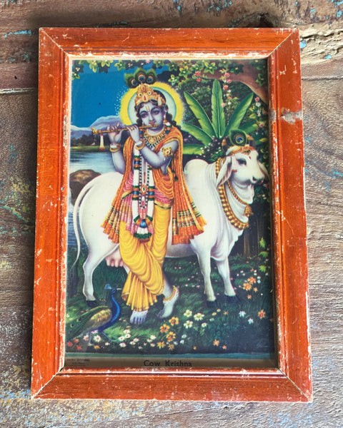 Vintage Krishna with Cow Print in Antique Wood Frame - art, bohemian-chic, Boho Chic, decor, Devotional, god, goddess, Hindu, hinduism, India, Indian, Indian divinities, one-of-a-kind, paintings-prints, Print, Religion, wood