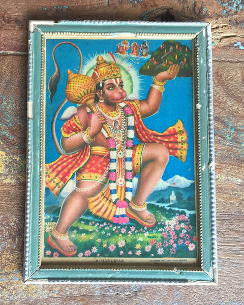 Hanuman Strides Across A Mountain Meadow in Vintage Indian Frame - antique, art, decor, Devotional, hinduism, paintings-prints, sacred