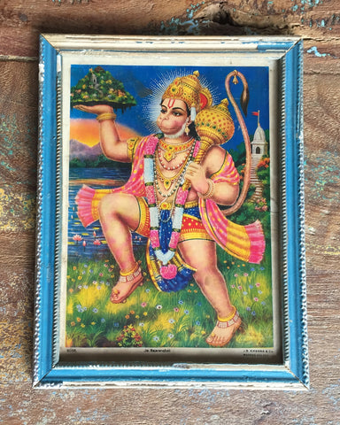 Hanuman Strides Across A Mountain Meadow in Vintage Indian Frame - art, decor, paintings-prints