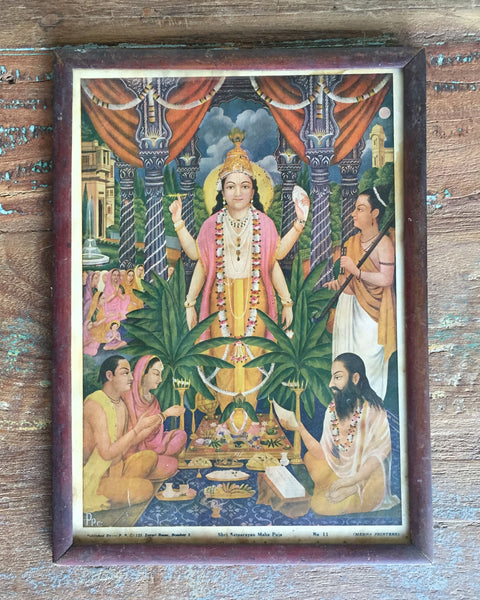 Sri Satyanarayan Maha Puja in a Vintage Frame - antique, art, bohemian-chic, Boho Chic, decor, Devotional, god, goddess, gods, hindi, Hindu, hinduism, India, Indian, Indian divinities, one-of-a-kind, paintings-prints, Print, sri, vintage, wall art, wall hanging, wood