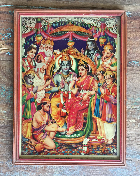 Vintage Vishnu and Lakshmi print Surrounded by the Gods in an antique wooden frame - accessories, antique, art, bohemian-chic, Boho Chic, decor, devontional, frame, Gift, gifts, hindi, Hindu, hinduism, India, Indian, Indian divinities, laksmi, one-of-a-kind, paintings-prints, vintage, vishnu, wall, wall art, wall hanging, wood